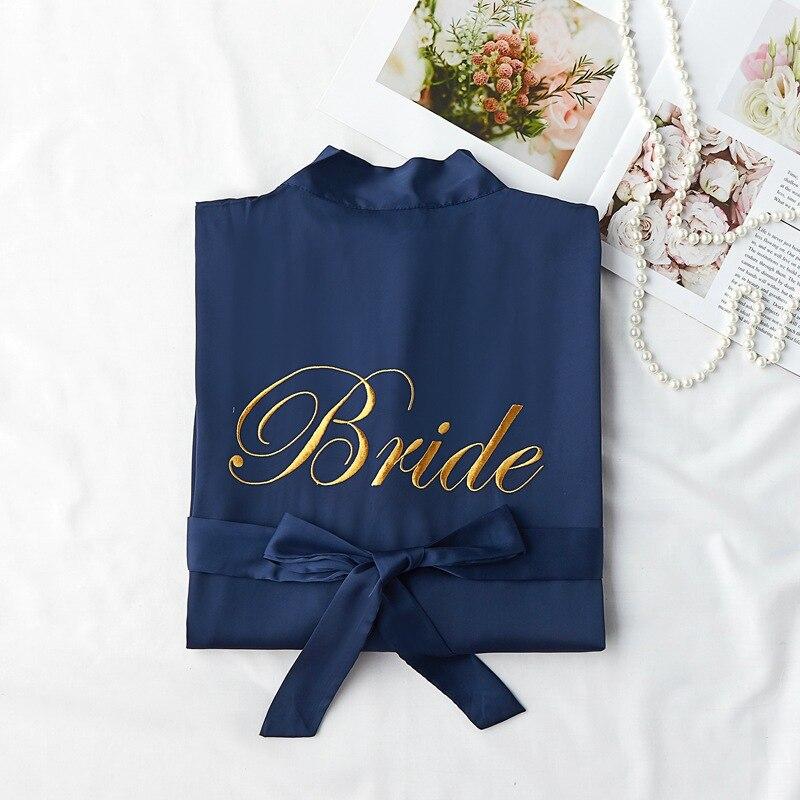 Wedding Robe For Bride&bridesmaid Kimono Gown Women Embroidery Sleepwear Nightgown Comfortable Casual Soft Nightdress Homewear
