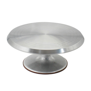 Image 1 - Free Shipping Baking Tool 10 Inch Alloy Mounted Cream Cake Turntable Rotating Table Stand Base Turn Around Decorating Silver