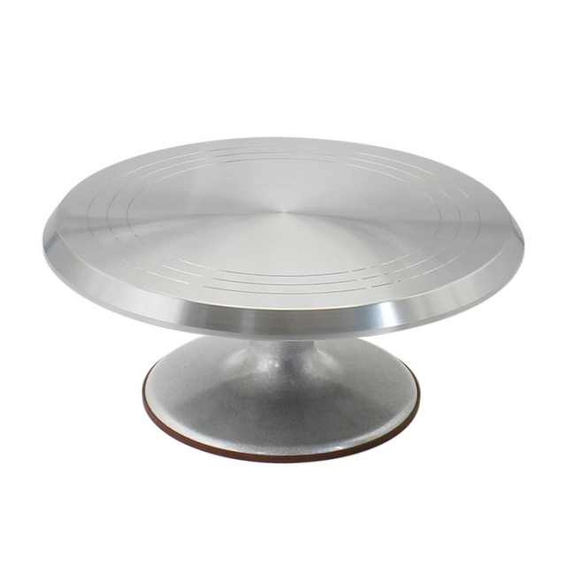 Free Shipping Baking Tool 10 Inch Alloy Mounted Cream Cake Turntable Rotating Table Stand Base Turn Around Decorating Silver