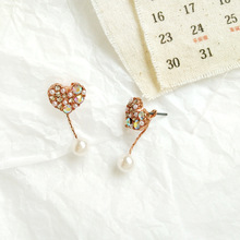 Korean fashion beautiful girl style love heart earrings pearls delicate women jewelry female gift