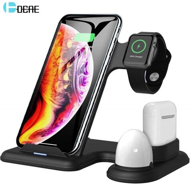 Беспроводное зарядное устройство DCAE 4 в 1, зарядная станция, светодиод Qi Fast 15 Вт для iPhone 11 Pro Max XS XR X 8 Airpods, Apple Watch 5 4 3 2