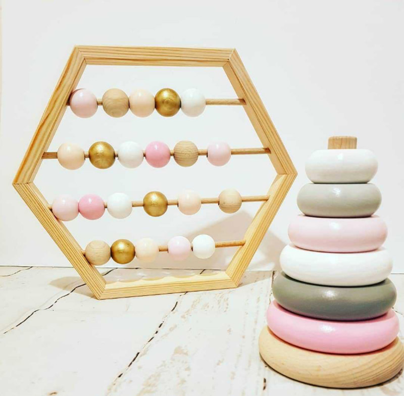 Nordic Style Natural Wooden Abacus With Beads Craft Baby Early Learning Educational Toys Scandinavian Style Child Room Decor