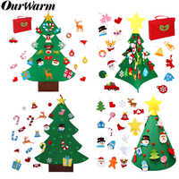 OurWarm Christmas Party Felt Christmas Tree Snowman Elk Sticker Hanging Storage Bag Merry Christmas Xmas New Year Gifts 2020