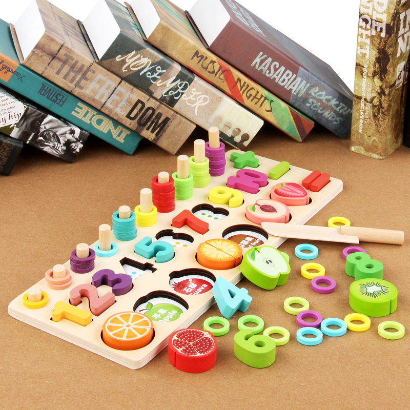 2019 New Wooden Children Cut Fruit Three-in-one Board Digital Color Cognitive Shape Paired Early Education Intellectual Toy