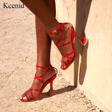 Kcenid 2020 קיץ משאבות חדש סקסי גלדיאטור סנדלי נעלי נשים גבוהה עקבים פתוח הבוהן סנדלי ליידי צלב רצועת משאבות נעלי גודל 42