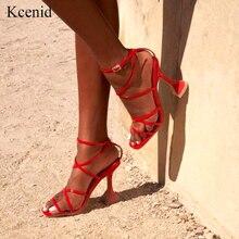 Kcenid zapatos de tacón alto de estilo gladiador para mujer, sandalias femeninas de tacón alto con punta abierta, con correa cruzada, talla 42, 2020