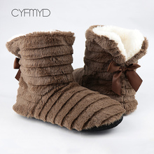 Womens slippers Butterfly Knot Home Non slip Cozy Warm winter Slippers home For Girl Plush Flock Flat Furry