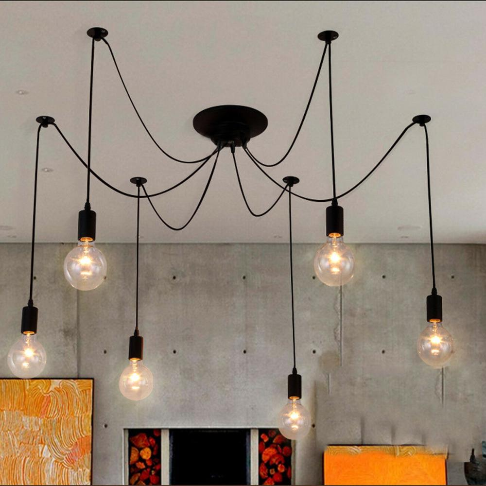 Modern 6 Heads Chandelier Ceiling Spider Light Industrial Pendant Lamp E27 For Living Room Restaurants Kitchen