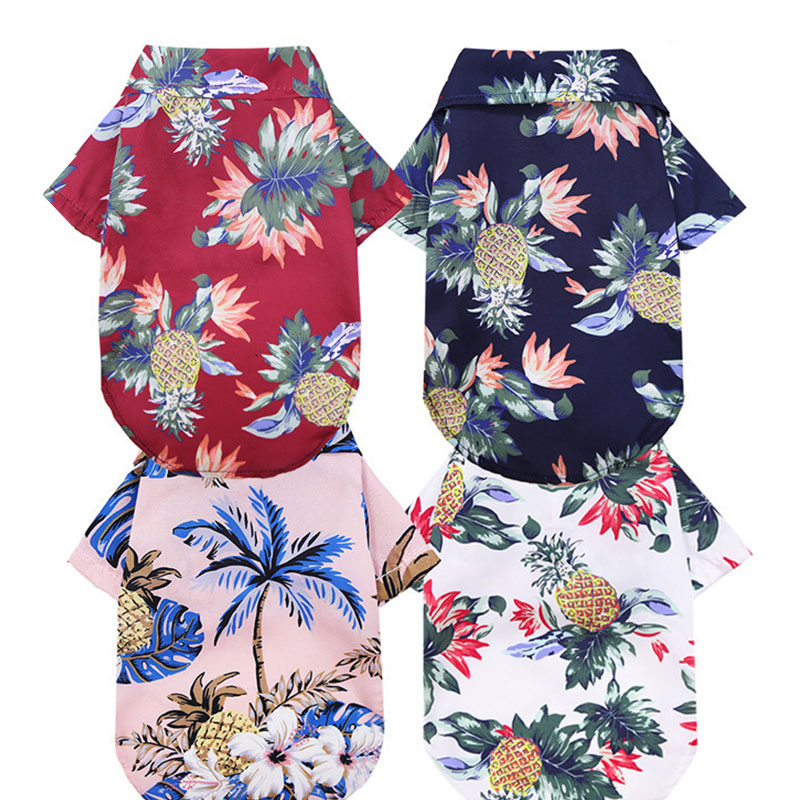 Dog Shirts Clothes Summer Beach Clothes Vest Pet Clothing Floral T Shirt Hawaiian For Small Large Cat Dog Chihuahua