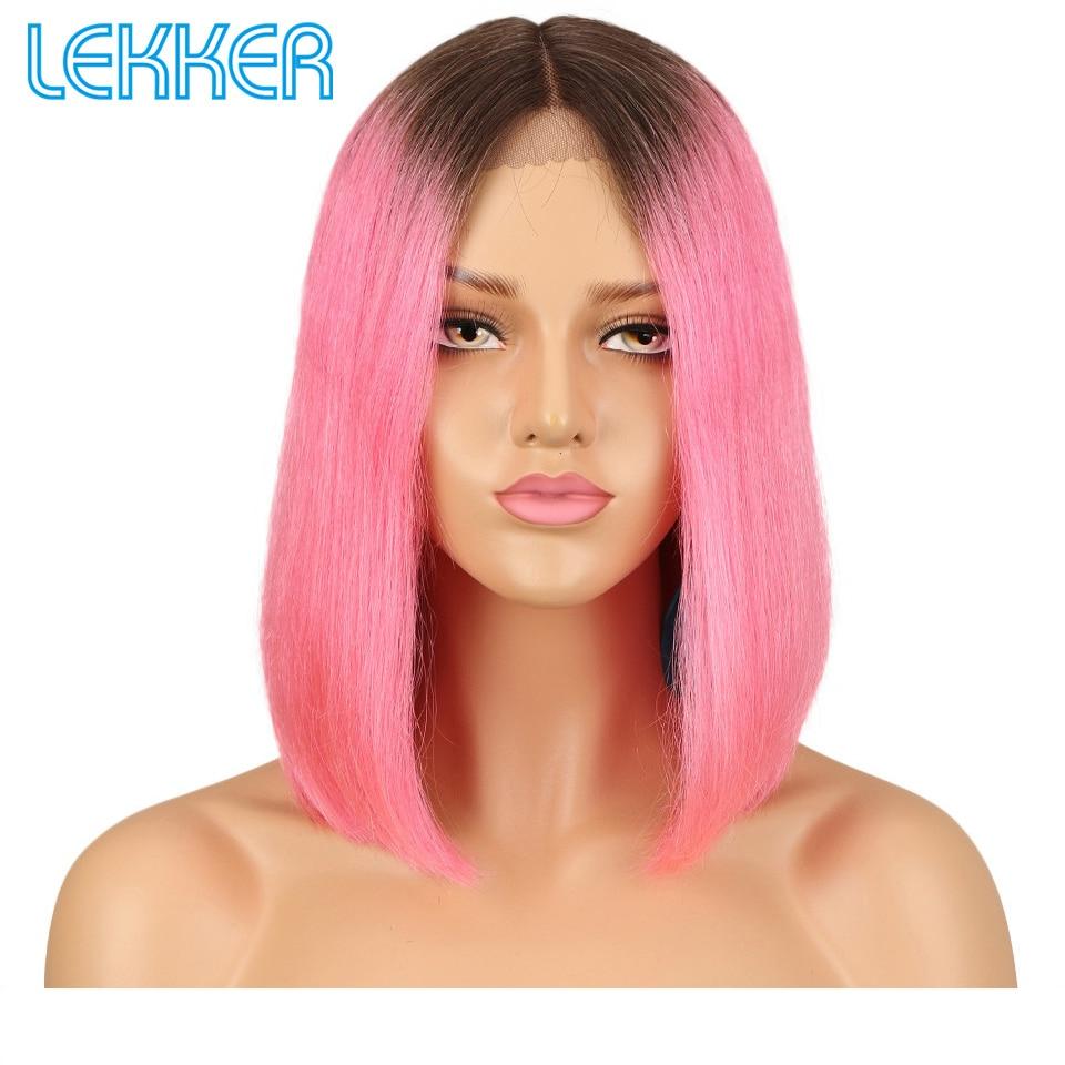 Lekker Wig Brazilian Lace Front Human Hair Wig TT1B Caramel Ombre Color Straight Human Hair Wigs For Black Women Short Bob Wigs