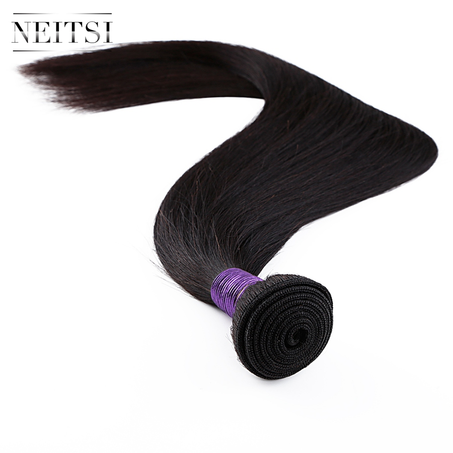 Neitsi Straight Machine Made Remy Human Hair Extensions 14 quot 40 quot 100g pc Natural Black Colored Hair Weave Weft Bundles in Hair Weft from Hair Extensions amp Wigs
