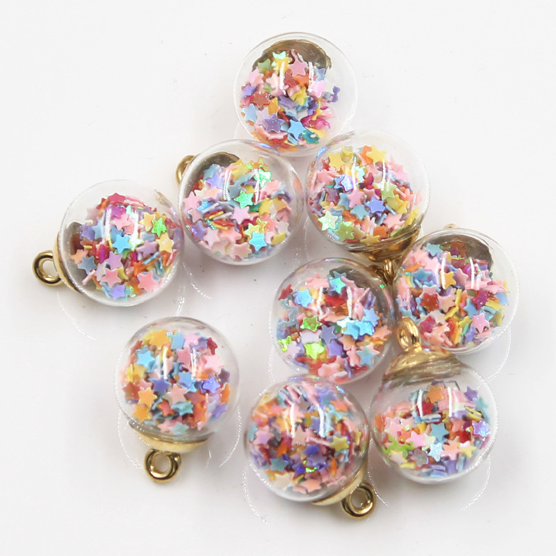 20pcs Charms Star Sequins Transparent Glass Ball 15mm Pendants Crafts Making Findings Handmade Jewelry DIY for Earrings Necklace 6