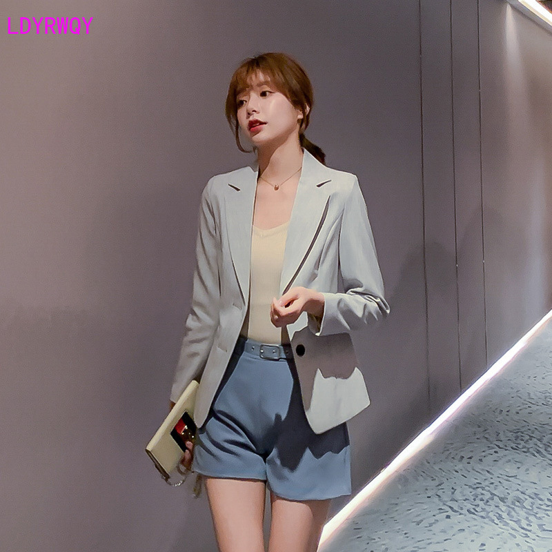 LDYRWQY spring and summer new Korean women's fashion suit collar long sleeve single-breasted temperament wild casual slim suit