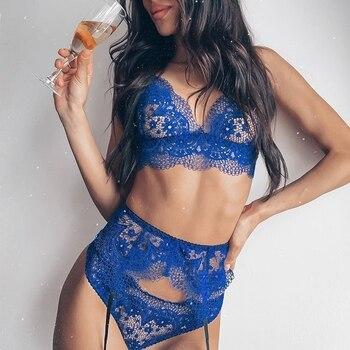 Lace Blue Harness Underwear Sexy Garter Belts V-neck Bra & Panty Set Waist To Leg Bondage Cage Straps Bra Lingerie Sleepwear Set royal blue sexy v neck lace details bikini set