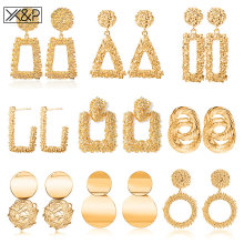 X& P винтажные геометрические большие серьги, массивные золотые Висячие серьги для женщин, Модные металлические Висячие серьги, ювелирные изделия