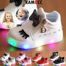 Children Glowing Sneakers Kid Princess Bow for Baby Girls LED Shoes Cute Baby Sneakers with Light Shoes Toddler Shoes Size 21-30(China)
