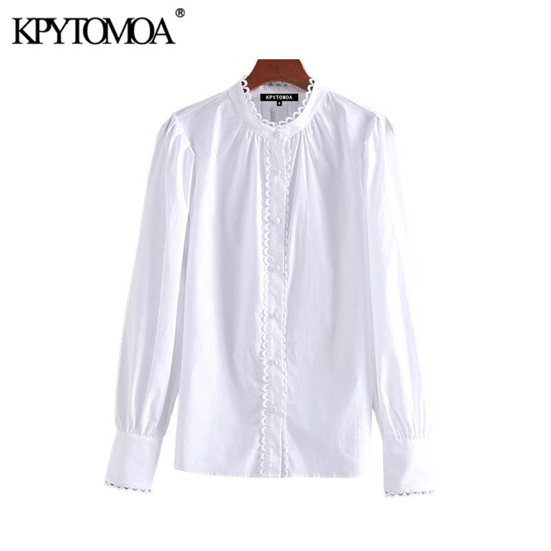 Vintage Sweet Scallop Trim Patchwork Blouses Women 2020 Fashion O Neck Long Sleeve Office Wear Shirts Blusas Mujer Chic Tops