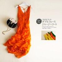 Tcyeek Summer 100% Real Silk Dress Women Clothes 2020 Boho Elegant Sexy V Neck Beach Party Dresses Ladies Long Vestidos LW2746
