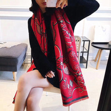 Winter hot selling imitation cashmere scarf double-sided autumn and winter style thickened warm horse cart shawl woman