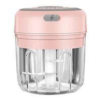250ml-pink-3 blade-Electric Garlic Crusher Food Shredder Smart USB Baby Food Supplement Machine