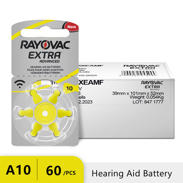 60 PCS RAYOVAC EXTRA Zinc Air Performance Hearing Aid Batteries A10 10A 10 PR70 Hearing Aid Battery A10 Free Shipping 2