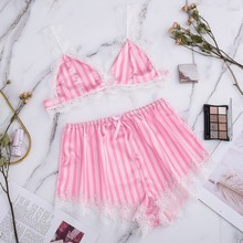 Women #8217 s Sleepwear Silk Pajamas Sexy Satin V-Neck Lingerie Lace Sleeveless Shorts Set Women Underwear Female Sleepwears S-XXL cheap Polyester S-L2 Striped Natural Color Home Four seasons 2PCS Regular home clothes home suit ladies pyjamas Lace Silk Sling Tops