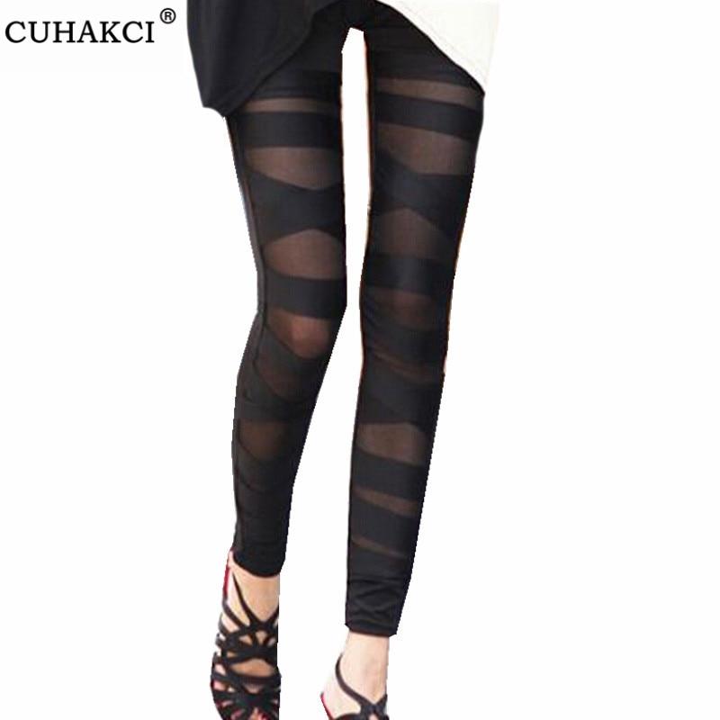 CUHAKCI Bandage Leggings Charming Leggins Slim Women Punk Legins Lady Sexy Splicing Pants Stretch Black Trousers Patchwork