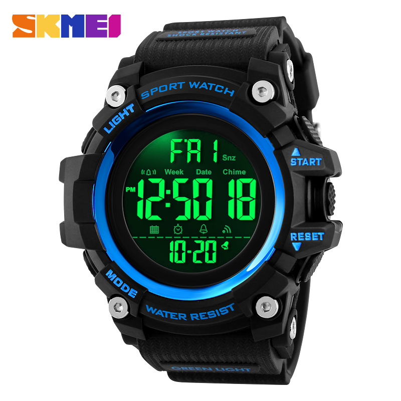 <font><b>SKMEI</b></font> Sport Watches Fashion Men Digital Watch Clock 2 Time 12/24 Hour EL Ligjt Waterproof Wristwatch Relogio Masculino <font><b>1384</b></font> image