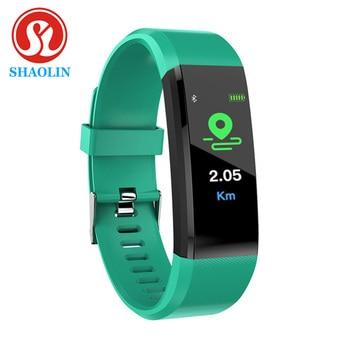 Shaolin rastreador de fitness pressão arterial à prova dwaterproof água banda de pulso pulseira banda inteligente relógio pulseira 1