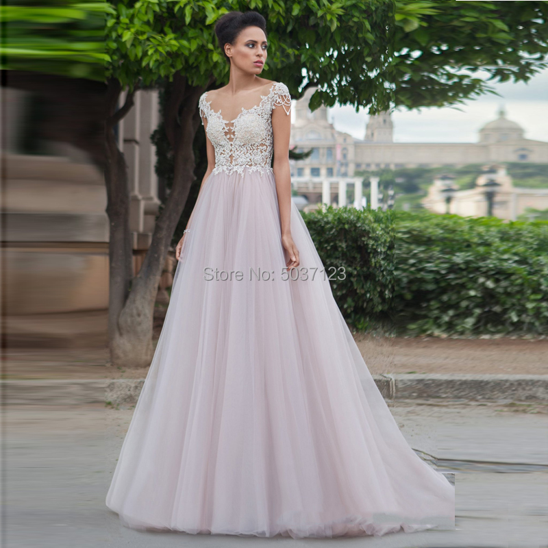 Dusty Rose A Line Wedding Dresses Lace Appliques Cap Sleeves Button Illusion Bridal Gown Court Train Vestido De Noiva