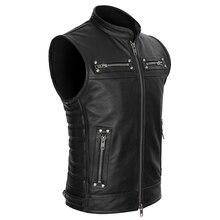 メンズスタンドカラーのオートバイのバイカーリアルレザーチョッキベストジャケットジッパーポケット本革ヴィンテージスタイル
