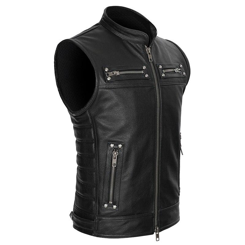 Real Leather Biker Vest Mens Stand Collar Zipper Pockets Motorcycle Vest Jackets Waistcoat Genuine Cow Leather Black SlimGenuine Leather Coats   -