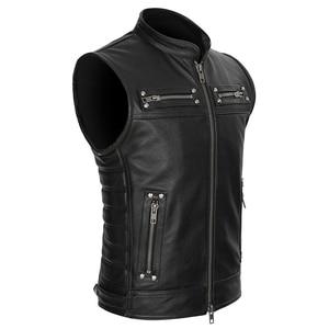 Image 1 - Real Leather Biker Vest Mens Stand Collar Zipper Pockets Motorcycle Vest Jackets Waistcoat Genuine Cow Leather Black Slim