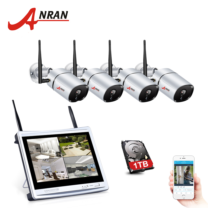 H.265 CCTV 12 Inch LCD 1080P 4CH NVR Kit Monitor 36 IR Outdoor IP WIFI Camera Surveillance Security Wireless System Kit 1TB HDD