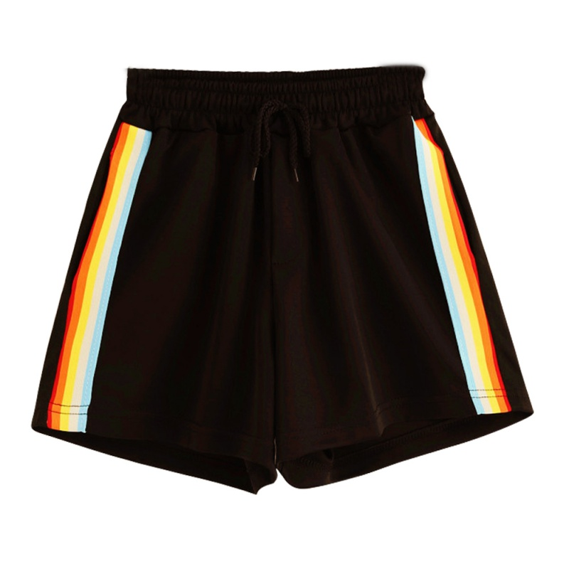 Mid-Rise Drawstring Rainbow Shorts Pockets Summer Trend Sports Loose