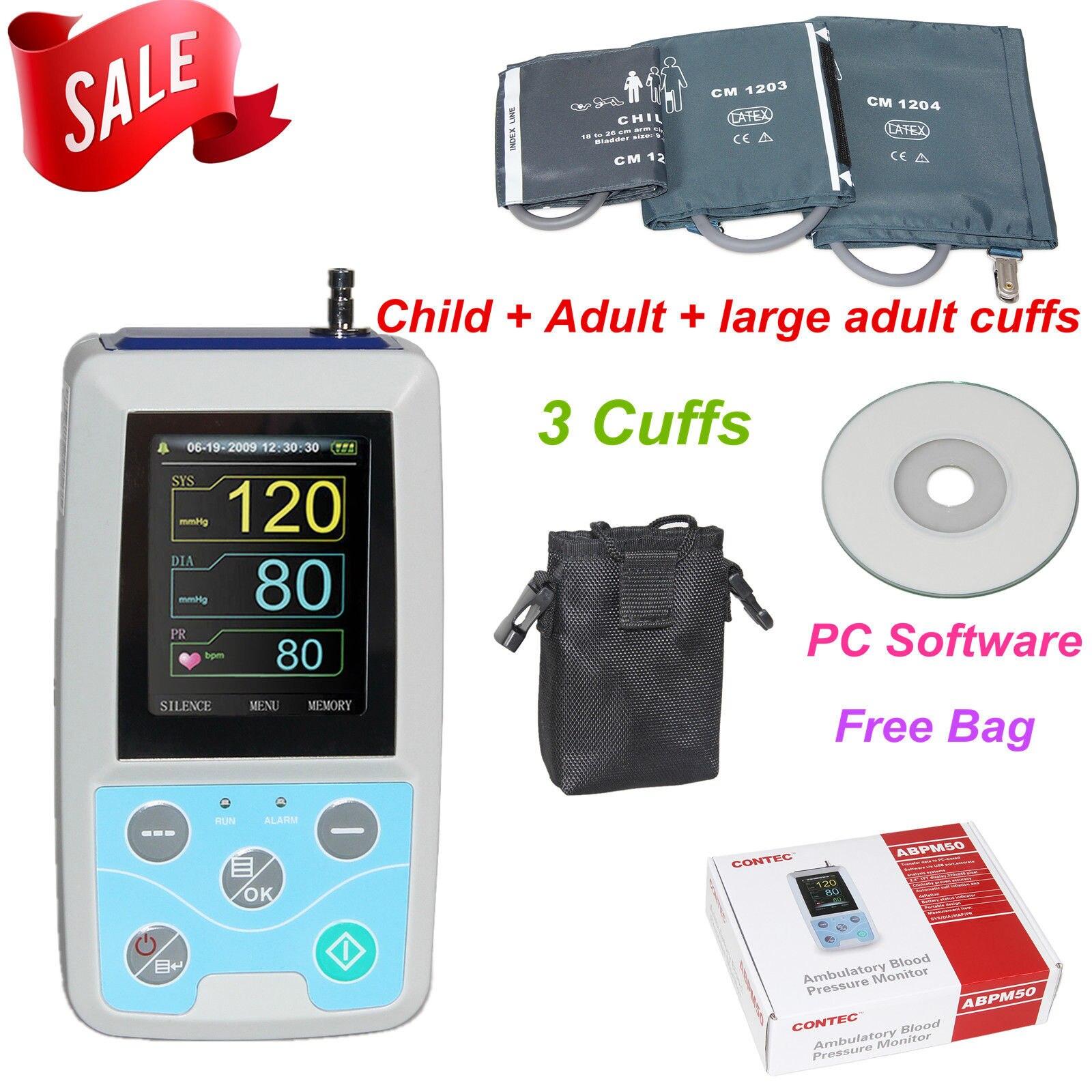 FDA US ABPM50 24 heures moniteur de pression artérielle ambulatoire Holter ABPM Holter BP moniteur avec logiciel contec