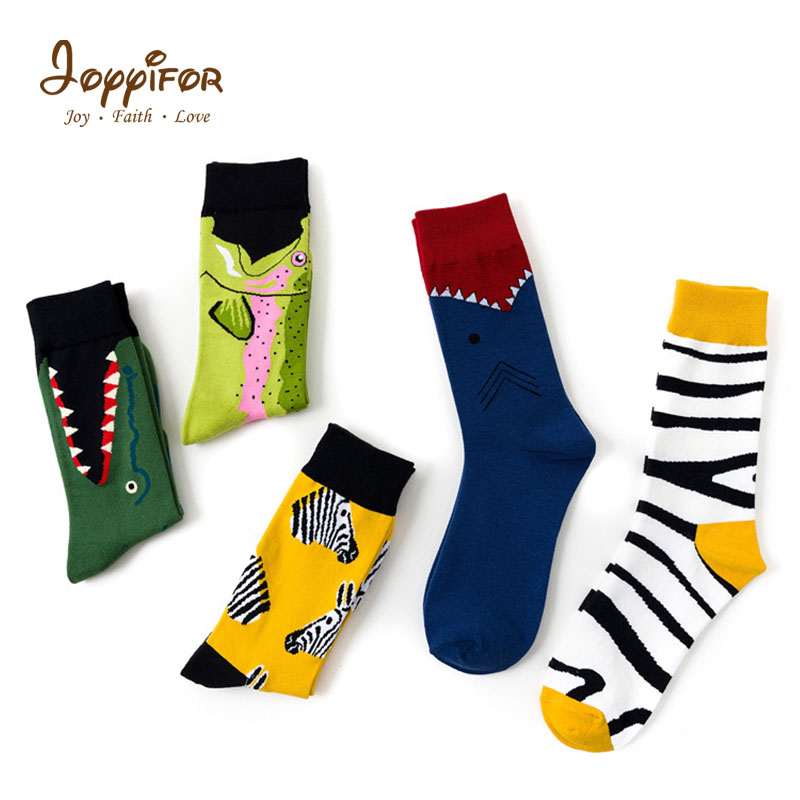 New Cartoon Fashion Style Unisex Shark Fish Zebra Pattern Socks Hip Hop Harajuku Socks Street Children Student Boys Man Socks