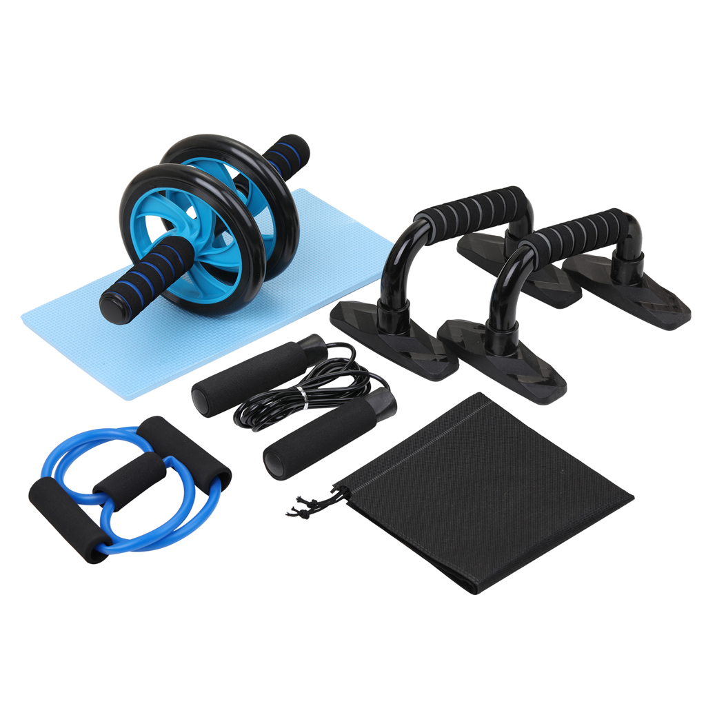 Fitness AB Wheel Roller Abdominal Roller Ab Trainer Roller Press Wheel + Push-UP Bar + Jump Rope + Knee Pad Workout Equipments image