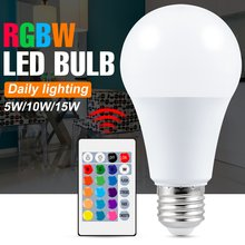 E27 Led RGB lampe ampoule 220V Led contrôle intelligent lumière 5W 10W 15W Led lampe à intensité variable à distance 110V lumières colorées ampoule de projecteur magique