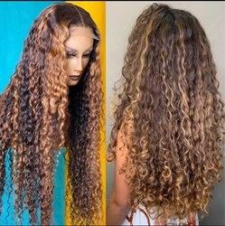 SPARK Ombre brazylijski prosto koronki przodu peruki z ludzkich włosów 28 cali 13x4 koronki przodu peruka blond peruki z włosów typu Remy dla czarnych kobiet