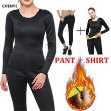 CHENYE النيوبرين محدد شكل الجسم الرياضة مجموعة طويلة الأكمام قميص + يغطي الرجل ساونا الدعاوى النساء تحكم سراويل بانت مدرب خصر ملابس داخلية