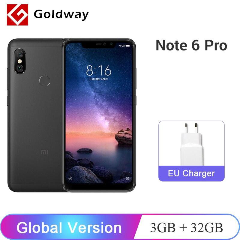 Nouvelle Version mondiale Xiaomi Redmi Note 6 Pro 3GB RAM 32GB ROM téléphone Mobile Snapdragon 636 Octa Core 6.26