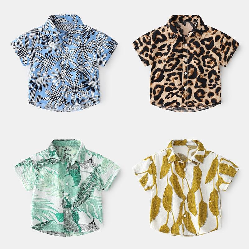 2021 Summer Boys Short Sleeve Shirt Hawaiian Vacation Style Beach Shirt Handsome and Cute Kid's Shirt