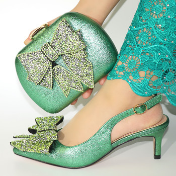 Italian Women Matching Shoes and Bag Set Office Lady Shoes and Bag in Teal Color Mature Style Shoes for Royal Party