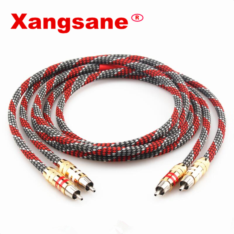 Xangsane Hifi lave rouge câble de signal audio RCA 4N OFC câble audio plaqué argent câble audio mâle à mâle câble de signal 2RCA-2RCA