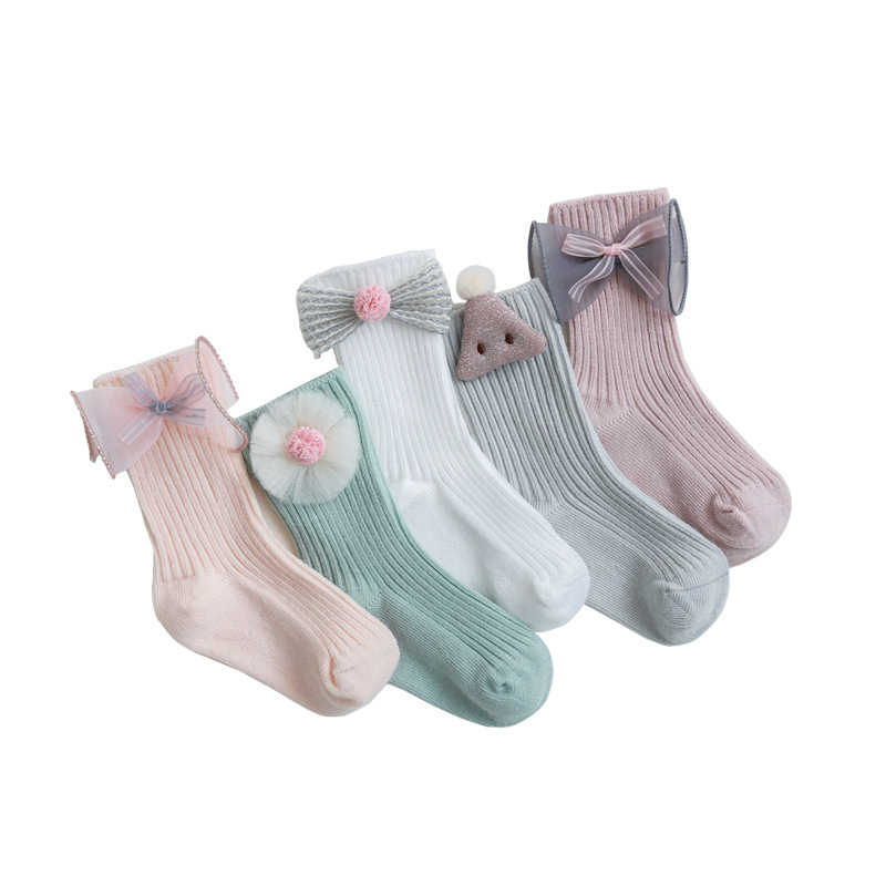 Spring Autumn Baby Socks For Girls Cotton Floral Baby Girls Socks Princess Socks For Newborn Casual Baby Boys Solid Socks