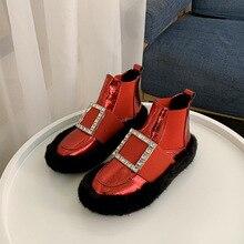 SWONCO kısa kar botları kadın kış sıcak kürk yüksek Top Sneakers Rhonestone 2019 kadın rahat Chelsea çizmeler ayak bileği düz Snowboots