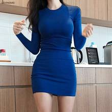 Fall Mini with Knitted Dress Bodycon Dress Sexy Slim Fit Elastic Hip Waist Slimming Large Long Sleeve Bottoming Dress Dresses