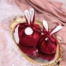 Doces biscoitos sacos de presente com fita dos desenhos animados coelho orelhas de veludo lanches biscoito cozimento saco festa de aniversário do casamento decoração sacos