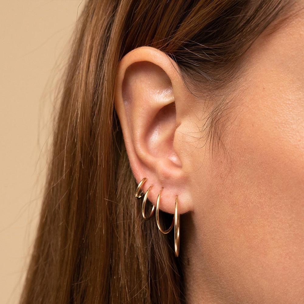 Женские серьги кольца JUJIE, минималистичные тонкие серьги из нержавеющей стали разных размеров, 2020 Серьги-кольца      АлиЭкспресс